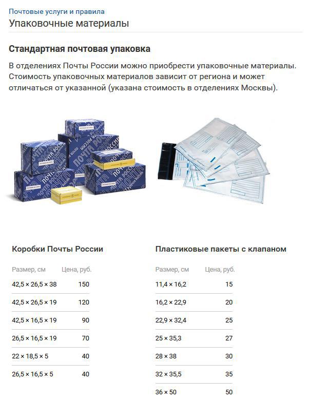 Упаковки Почты России